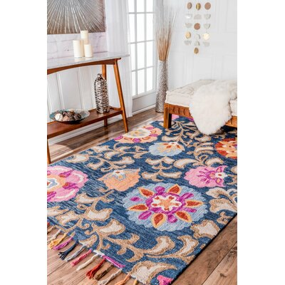 Jonas Hand-Tufted Navy Area Rug Rug Size: Rectangle 5 x 8