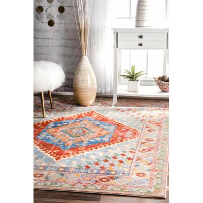 Noel Orange Area Rug Rug Size: 53 x 77