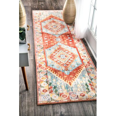 Fontayne Orange Area Rug Rug Size: Runner 26 x 8