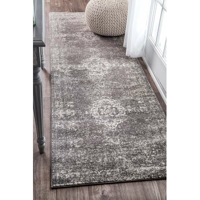 Burdge Gray Area Rug Rug Size: Runner 28 x 8
