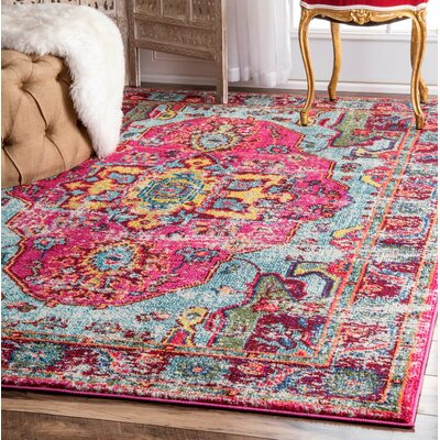 Loughlam Pink Area Rug Rug Size: 3 x 5