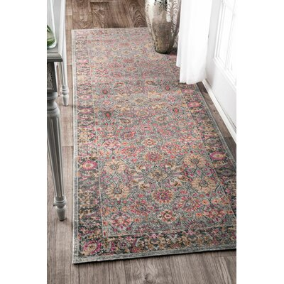 Khalil Pink/Gray Area Rug Rug Size: Rectangle 5 x 75