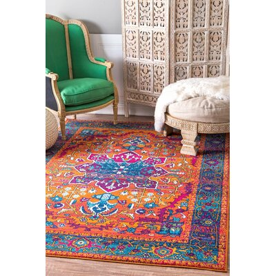 Alijah Orange Area Rug Rug Size: Rectangle 5 x 75