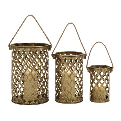 3 Piece Antique Metal Lantern Set