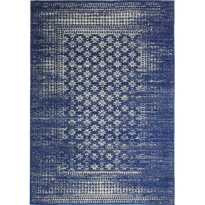 Woodrow Machine Woven Polypropylene Dark Blue Area Rug Rug Size: 36 x 56
