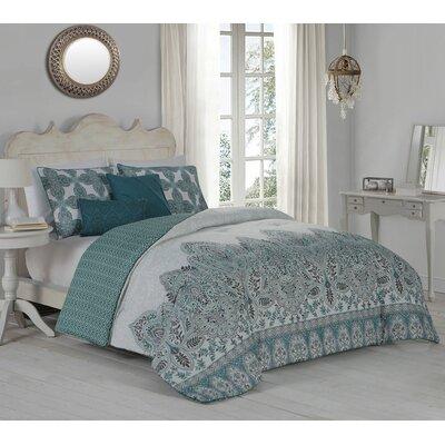Doshie 5 Piece Reversible Duvet Cover Set Size: King, Color: Mint