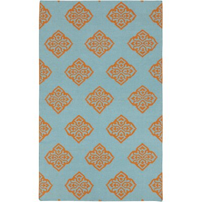 Faith Dark Robins Egg Blue Area Rug Rug Size: 13 x 9