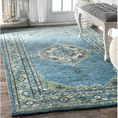 Frederick Hand-Tufted Aqua Area Rug Rug Size: Rectangle 5 x 8