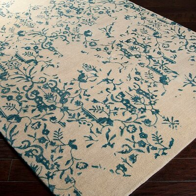 Bower Parchment/Blue Area Rug Rug Size: Rectangle 5 x 8