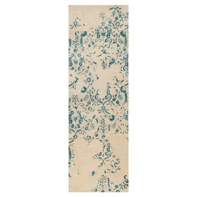 Bower Parchment/Blue Area Rug Rug Size: Runner 26 x 8