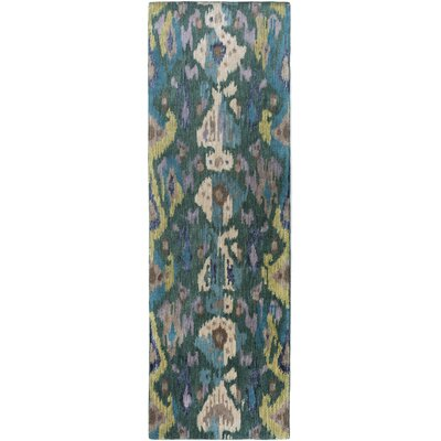 Bower Teal Ikat/Suzani Area Rug Rug Size: Runner 26 x 8