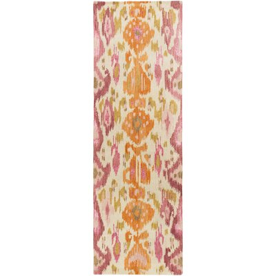 Bower Pastel Pink Ikat/Suzani Area Rug Rug Size: Runner 26 x 8