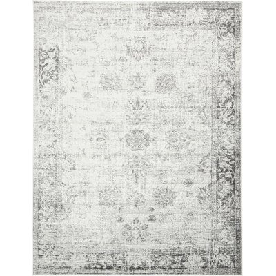 Brandt Machine Woven Gray/White Area Rug Rug Size: 9 x 12