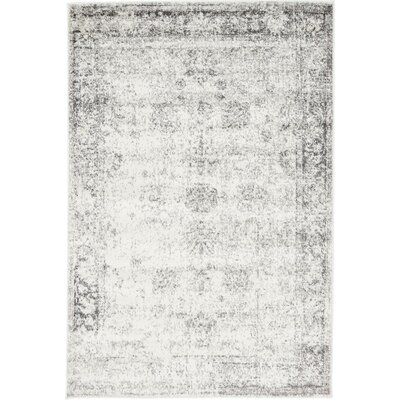 Brandt Machine Woven Gray/White Area Rug Rug Size: 4 x 6