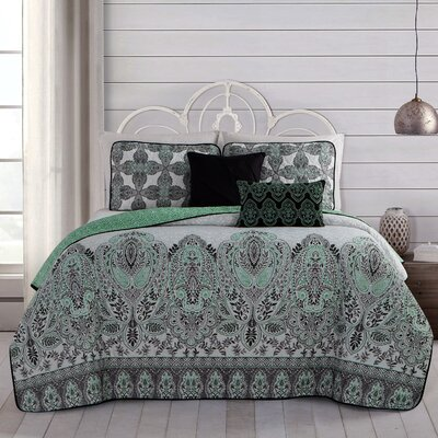 Doshie 5 Piece Reversible Quilt Set Size: King, Color: Mint