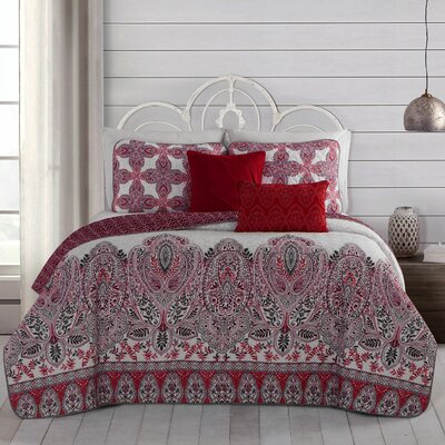 Doshie 5 Piece Reversible Quilt Set Size: Queen, Color: Red