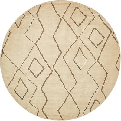 Berkshire Traditional Beige Area Rug Rug Size: Round 8