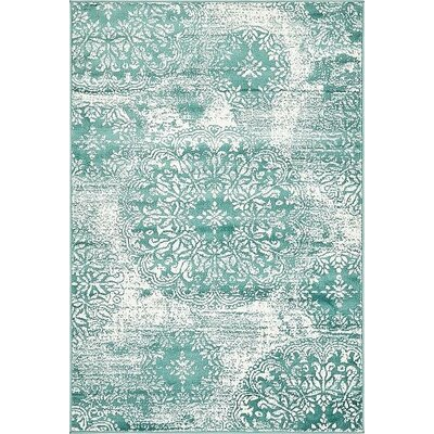 Brandt Turquoise Area Rug Rug Size: 4 x 6