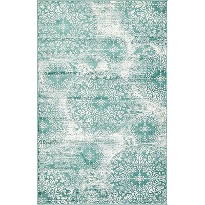 Brandt Turquoise Area Rug Rug Size: Rectangle 5 x 8
