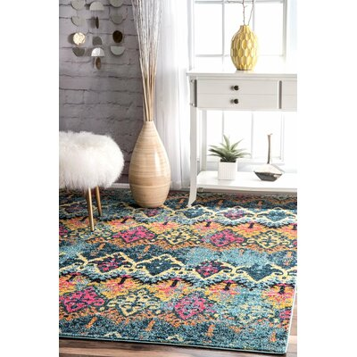 Chandler Blue/Yellow Area Rug Rug Size: Rectangle 9 x 12