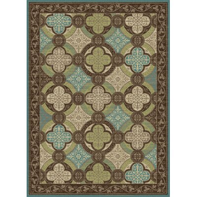 Juliet Brown/Green Area Rug Rug Size: 2 x 3