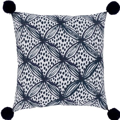 Zaiden Cotton Throw Pillow Size: 22 H x 22 W x 5 D, Color: Dark Blue / Navy / White
