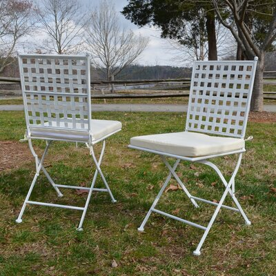 Kyra Folding Dining Side Chair Set with Cushion (Set of 2) Finish: White