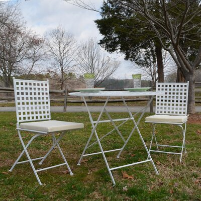 Kyra 3 Piece Bistro Set Finish: White