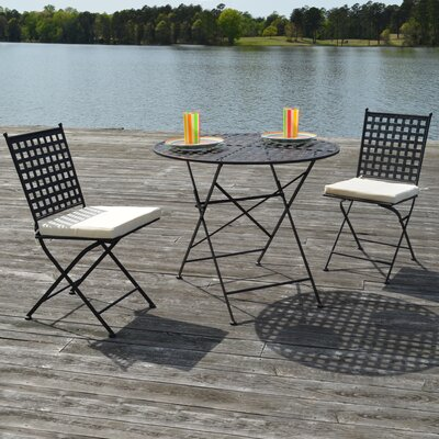 Kyra 3 Piece Bistro Set Finish: Black