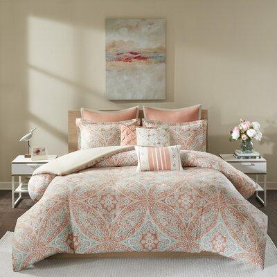 Diandre 8 Piece Cotton Reversible Duvet Cover Set Size: Full/Queen