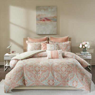Donovan 9 Piece Cotton Reversible Comforter Set Size: Queen