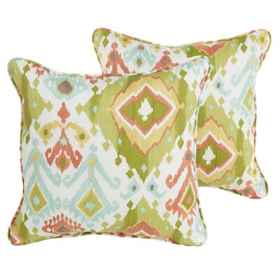 Fealty Green/Turquoise/Coral Indoor/Outdoor Throw Pillow Size: 22 H x 22 W x 6 D