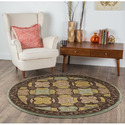 Juliet Brown/Green Area Rug Rug Size: Round 53