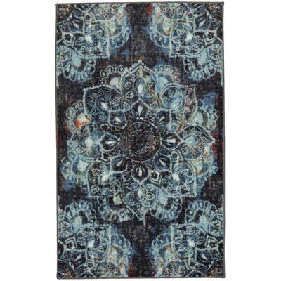 Asherman Mandala Blue/Black Area Rug Rug Size: 8 x 10