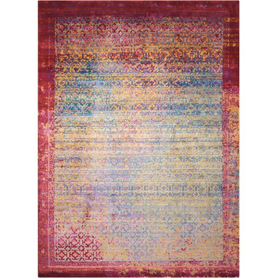 Nommern Hand-Knotted Blue/Yellow/Pink Area Rug Rug Size: Rectangle 99 x 139