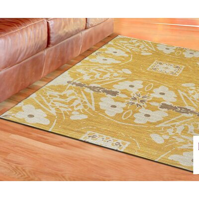 Mikonos Hand-Loomed Yellow Area Rug Rug Size: 2 x 3