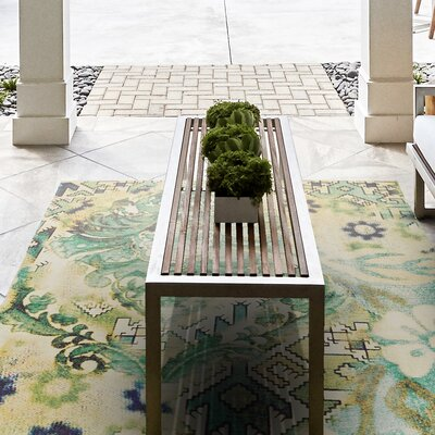 Arla Hand Woven Lime Indoor/Outdoor Area Rug Rug Size: 4 x 6