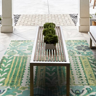 Arla Hand Woven Emerald Indoor/Outdoor Area Rug Rug Size: 56 x 86