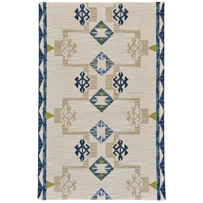 Pacifica Hand-Tufted Blue/Natural Area Rug Rug Size: Rectangle 36 x 56