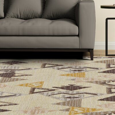 Pacifica Hand-Tufted Yellow/Natural Area Rug Rug Size: 5 x 8