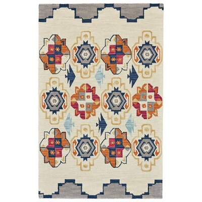 Pacifica Hand-Tufted Blue/Magenta Area Rug Rug Size: 36 x 56