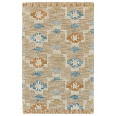 Pacifica Hand-Tufted Aqua/Sand Area Rug Rug Size: 3'6
