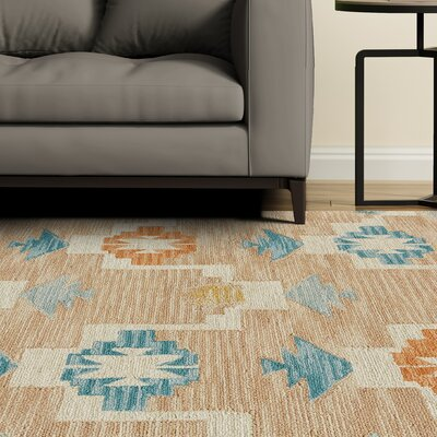 Pacifica Hand-Tufted Aqua/Sand Area Rug Rug Size: Rectangle 5 x 8