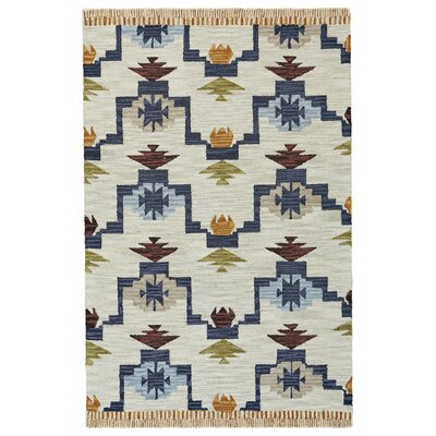 Pacifica Hand-tufted Blue/Ivory Area Rug Rug Size: Rectangle 5 x 8