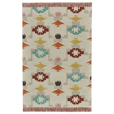 Pacifica Hand-Tufted Ivory/Crimson Area Rug Rug Size: 5 x 8