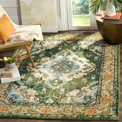 Shakti Green/Light Blue Area Rug Rug Size: 22 x 4