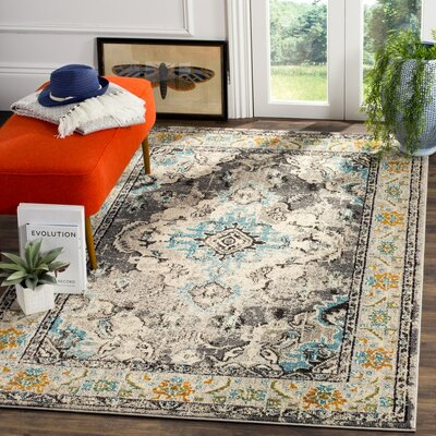 Shakti Gray/Light Blue Area Rug Rug Size: Square 67 x 67