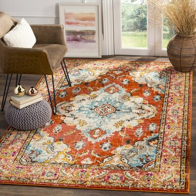 Newburyport Orange Area Rug Rug Size: Round 3