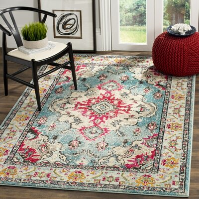 Newburyport Light Blue/Fuchsia Area Rug Rug Size: 9 x 12