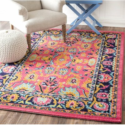 Hooda Pink/Blue Area Rug Rug Size: 3' x 5'